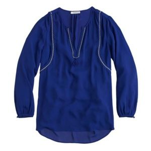 J CREW Bright Indigo Tassel Trim Top 4